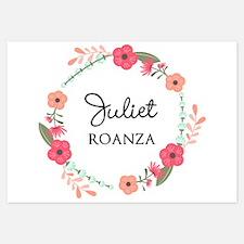 Flower Wreath Name Monogram Invitations