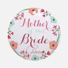 Chic Floral Wreath Mother of the Bride Round Ornam