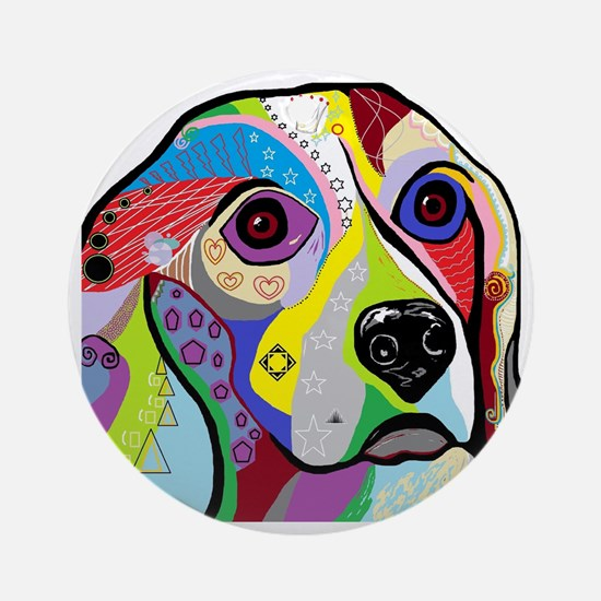 Cute Beagle art Round Ornament