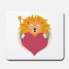 Love lion with heart Mousepad