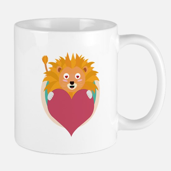 Love lion with heart Mugs