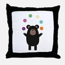Black Bear juggling Throw Pillow