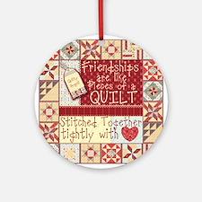 Quilting Friendships Round Ornament
