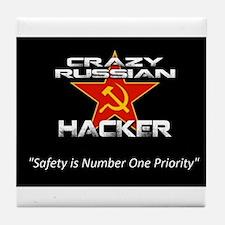 Crazy Russian Hacker Logo Tile Coaster