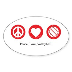 PEACE. LOVE. VOLLEYBALL Oval Decal