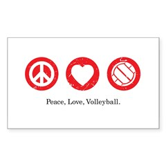 PEACE. LOVE. VOLLEYBALL Rectangle Decal
