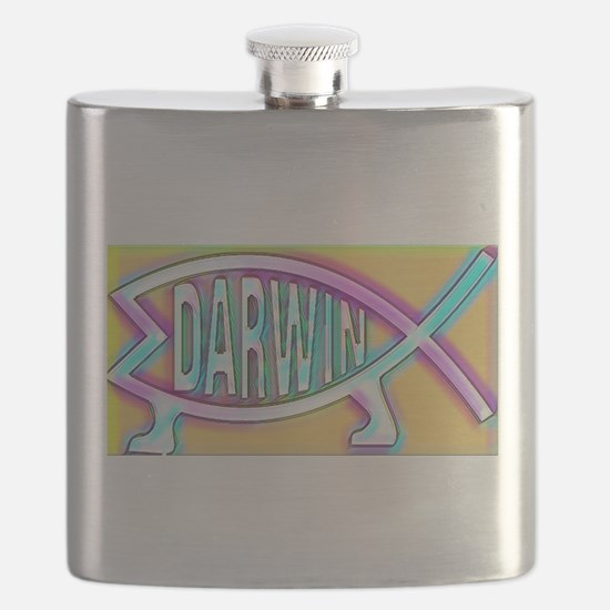 Original Darwin Fish (Neon) Flask