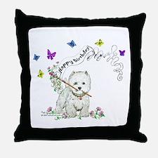 Birthday Dog Westie Terrier Throw Pillow
