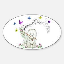 Birthday Dog Westie Terrier Oval Decal
