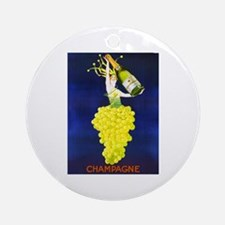 Vintage Champagne Wine Poster Ornament (Round)