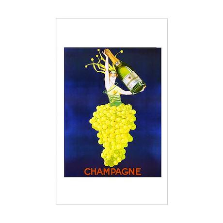Vintage Champagne Wine Poster Sticker (Rectangular