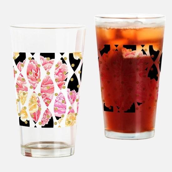 Modern Peony Flowers Black Gold Pin Drinking Glass