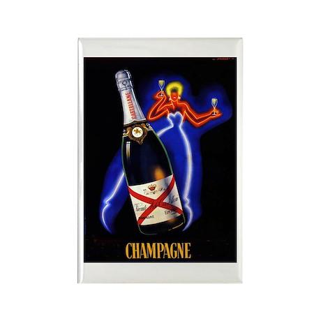 Vintage Champagne Wine Poster Rectangle Magnet