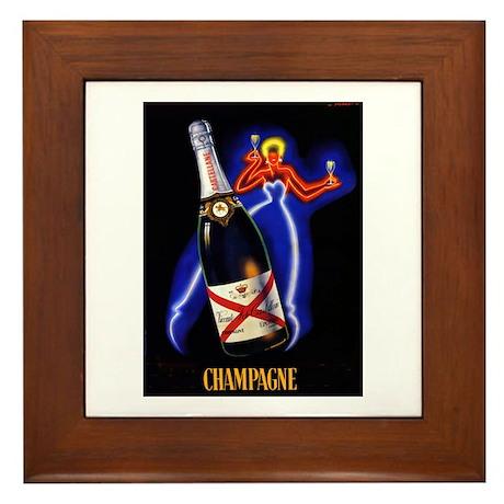 Vintage Champagne Wine Poster Framed Tile