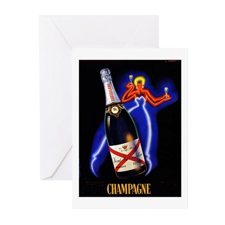 Vintage Champagne Wine Poster Greeting Cards (Pk o