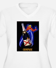 Vintage Champagne Wine Poster (Front) T-Shirt