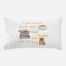 Tea Books Pugs Pillow Case
