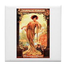 Vintage Champagne Wine Poster Tile Coaster