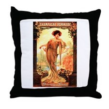Vintage Champagne Wine Poster Throw Pillow