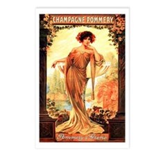 Vintage Champagne Wine Poster Postcards (Package o
