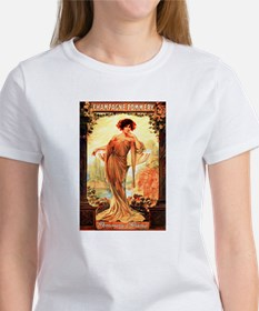 Vintage Champagne Wine Poster (Front) Tee