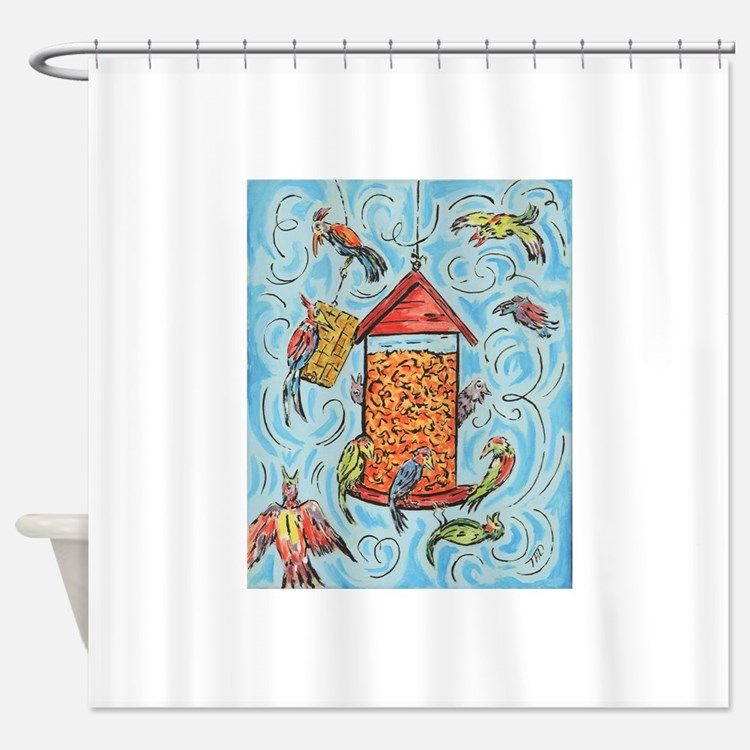 Bird Feeder Shower Curtain