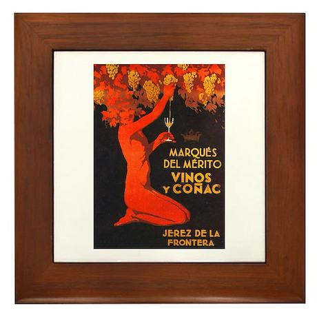Vintage Cognac Wine Poster Framed Tile