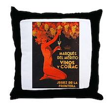 Vintage Cognac Wine Poster Throw Pillow