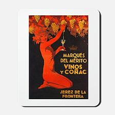 Vintage Cognac Wine Poster Mousepad