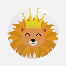 Lion head with crown Round Ornament
