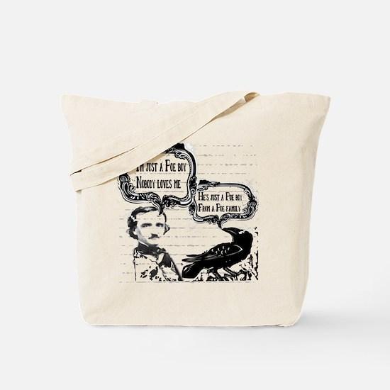 Funny Edgar Allan Poe Boy Raven Tote Bag