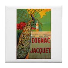 Vintage Cognac Wine Poster Tile Coaster