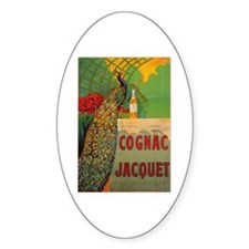 Vintage Cognac Wine Poster Oval Decal