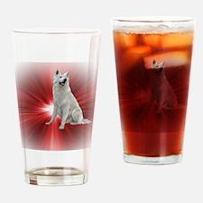 Cool White german shepherd Drinking Glass