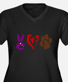 Peace, Love, Pets Symbols Plus Size T-Shirt