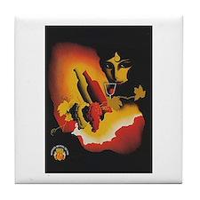 Vintage Spanish Wine Poster Tile Coaster