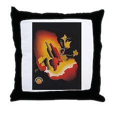 Vintage Spanish Wine Poster Throw Pillow