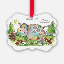 Colorful Cow Smileys Ornament
