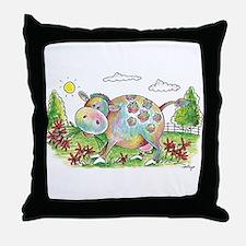 Colorful Cow Smileys Throw Pillow