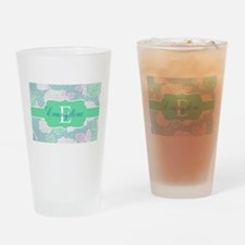 Mint Floral Monogram Drinking Glass