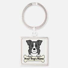 Personalized Border Collie Square Keychain