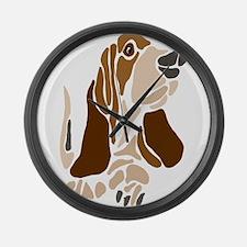 Funny Basset Hound Dog Large Wall Clock