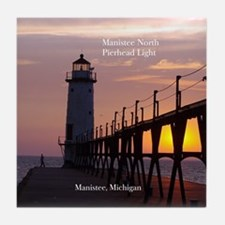 Manistee North Pierhead Light Tile Coaster
