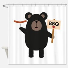 BBQ Black bear with sausage Shower Curtain