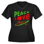 Peace Love Canoe Women's Plus Size V-Neck Dark T-S