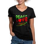 Peace Love Canoe Women's V-Neck Dark T-Shirt