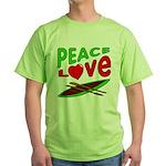 Peace Love Canoe Green T-Shirt
