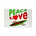 Peace Love Canoe Rectangle Magnet