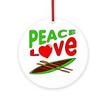Peace Love Canoe Ornament (Round)