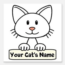 """Personalized White Cat Square Car Magnet 3"""" x 3"""""""